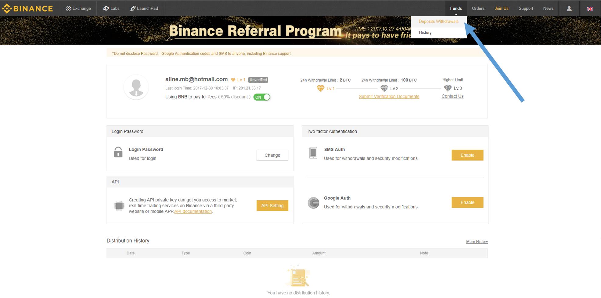 depositando bitcoins
